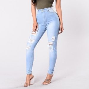 NEW High Waisted Distressed Stretch Skinny Jeans S